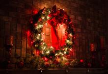 Festive Christmas Wreath Over ...