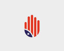 Abstract Hand US Flag Logo Des...