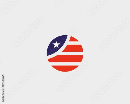 Photographie  Round American flag star stripes logo design