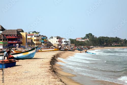 Mamallapuram am Mahabalipuram.Strand Billede på lærred