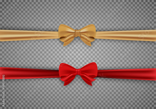 Photo  Decorative red and gold bow with horizontal ribbons isolated on a transparent background