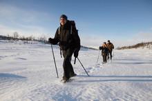 Cross-country Skiers Walking In Snow