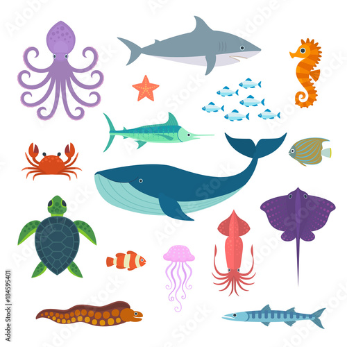 Valokuva Set of vector marine fish and animals