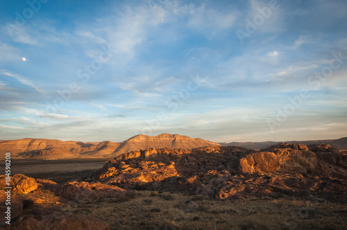 In de dag Texas Sunset landscape view at Hueco Tanks State Park in El Paso, Texas.