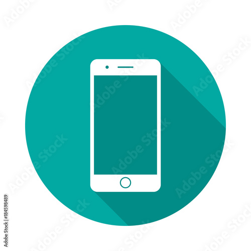Obraz Mobile phone circle icon with long shadow. Flat design style. Smart phone simple silhouette. Modern, minimalist, round icon in stylish colors. Web site page and mobile app design vector element. - fototapety do salonu