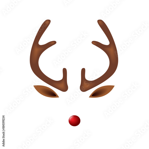 Fototapeta premium Renifer z szablonem czerwonego nosa