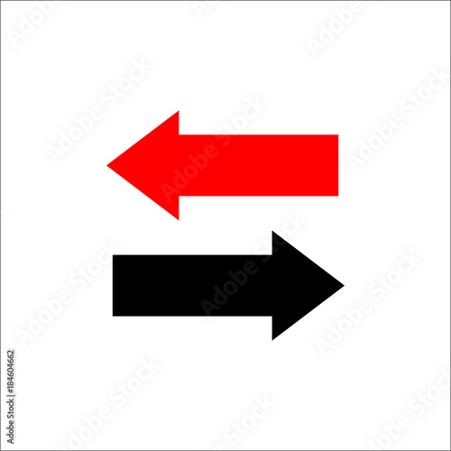 Two way arrows left and right directions opposite Wallpaper Mural