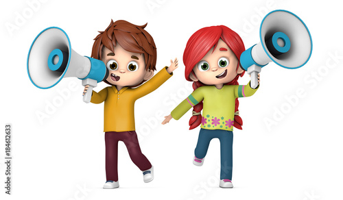 Fényképezés  Niños hablando con un megáfono