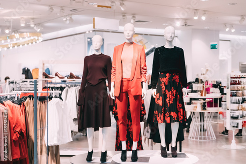 Mannequins Dressed In Female Woman Casual Clothes In Store Of Shopping Wallpaper Mural