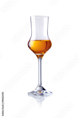 glass of brandy, isolated on white