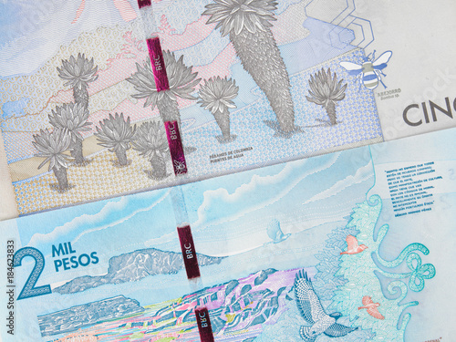 Poster Colombia currency 2000 and 5000 peso banknotes, Colombian money close up