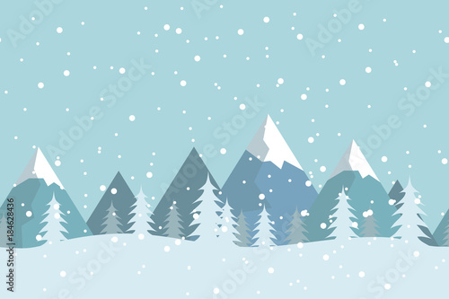Tuinposter Lichtblauw Seamless flat winter vector landscape with silhouettes of trees and mountains.