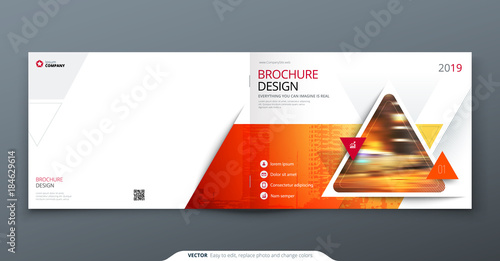 Brochure template layout, cover design annual report, magazine, flyer or booklet in A4 with red triangle geometric shapes. Vector Illustration.
