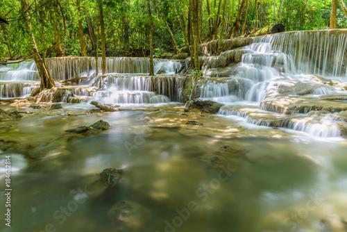 Aluminium Prints Dark grey Huay Maekamin Waterfall Tier 6 (Dong Pee Sua) in Kanchanaburi, Thailand