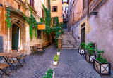 Fototapeta Na drzwi - View of old cozy street in Rome, Italy