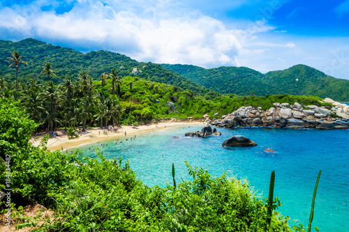 Poster Zeilen Beautiful view of beach at Cabo San Juan,Tayrona Natural National Park, Colombia