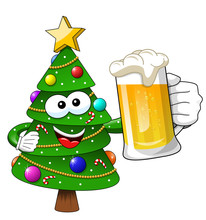 Xmas Christmas Tree Mascot Character Holding Beer Mug Isolated