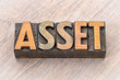 asset word abstract in wood type