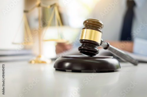 Fotografija  gavel and soundblock of justice law and lawyer working on wooden desk background