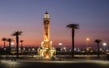 Clock Tower Of Izmir At Sunset...