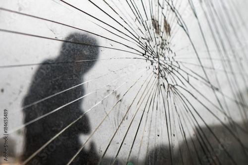 At the bus stop broken glass Wallpaper Mural