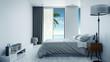 minimalist interior Bedroom design concept ,Summer , sea view at villa,beach lounge,/3d rendering