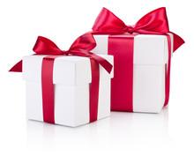 Two White Gift Boxes Tied Burg...