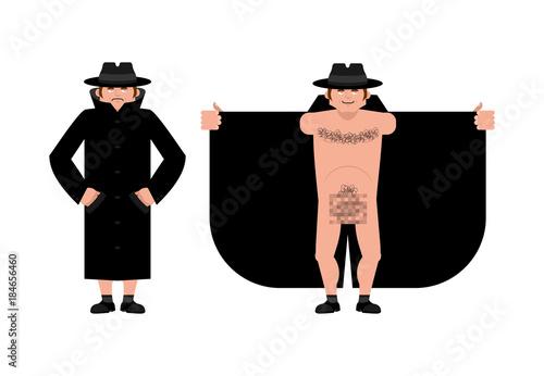 Fotografia, Obraz Exhibitionist open coat isolated