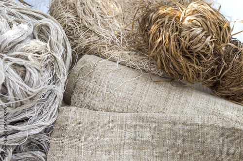Stampa su Tela Natural fabric fiber, Hessian fabric made from natural material with natural col