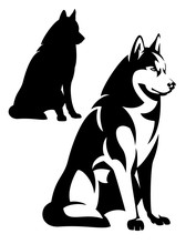 Sitting Husky Dog Simple Black And White Design - Vector Outline And Silhouette