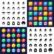 Female Haircut All in One Icons Black & White Color Flat Design Freehand Set