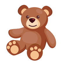 Vector Flat Teddy Bear Baby Toy