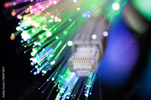 Close up studio shot of LAN and optical fiber cable
