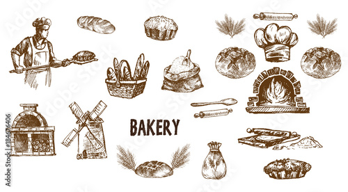Digital vector detailed line art bakery Canvas Print