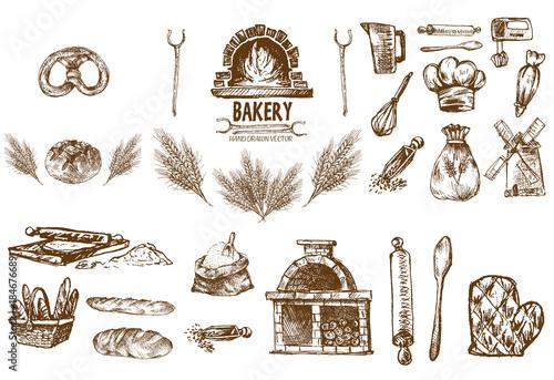 Fotografiet Digital vector detailed line art bakery