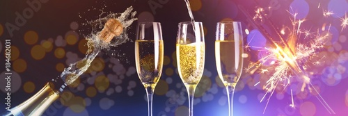 Composite image of two full glasses of champagne and one being