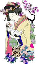Hand Drawn Geisha Women Hug Ki...