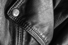 Black Leather Jacket Close Up