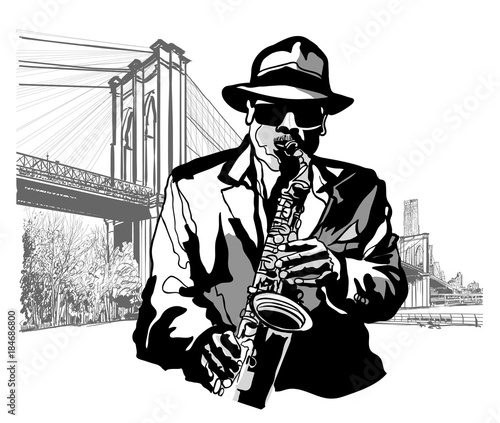 Tuinposter Art Studio Saxophonist at Brooklyn Bridge