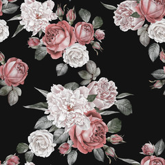 Fototapeta Róże Floral seamless pattern with watercolor red roses and peonies