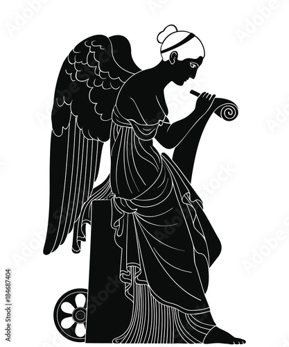 Ancient Greek goddess Nemesis with wings sits, holds a papyrus and stylus and writes Wallpaper Mural
