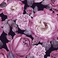 Fototapeta Peonie Floral seamless pattern with watercolor roses and peonies