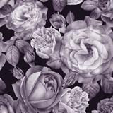 Kwiatowy wzór z akwarela róż i piwonie - 184688248