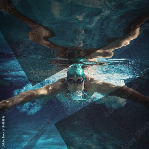 Photo  Fit swimmer training by himself