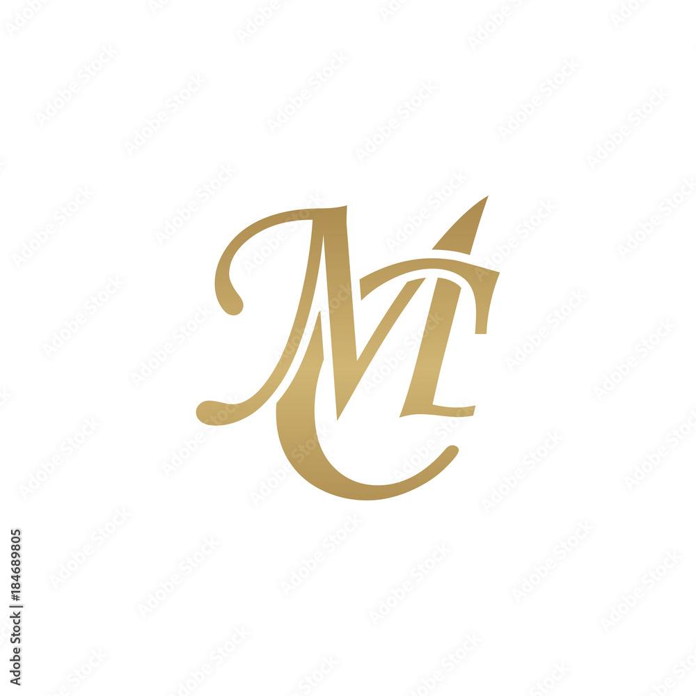 Fototapeta Initial letter MC, overlapping elegant monogram logo, luxury golden color