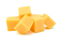 Cubes Of Cheddar Cheese Isolat...
