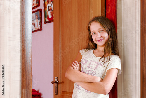 the teenager at the door of his room
