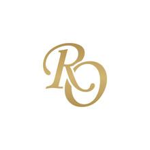 Initial Letter RO, Overlapping Elegant Monogram Logo, Luxury Golden Color