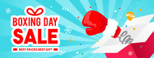 Boxing Day Sale Vector Illustration, Boxing Glove Coming Out Of Gift Box.