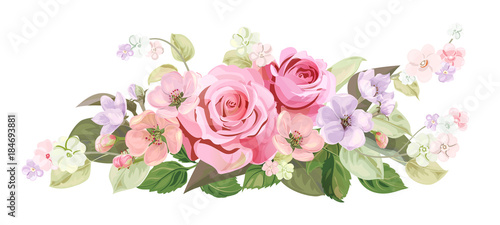 Bouquet Of Roses Spring Blossom Horizontal Border With Red Mauve